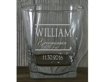 Groomsmen Whiskey Glasses - Personalized 9.25 oz  Whiskey Glasses - Perfect for Groomsmen, Birthdays, Bachelor Parties