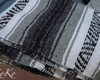 "Mexican Folk ""Falsa"" Square Woven Blanket, Mat, SIZE: MEDIUM ~((52in X 52in)), Picnic/Beach Mat, Southwestern w/ Fringe"