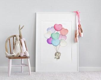 UNFRAMED Big Picture, for Girl's Nursery, Large Childrens Art, Pastel Illustration, Girl's wall art, extra large kid's, Nursery Print