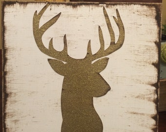 Distressed glitter deer sign