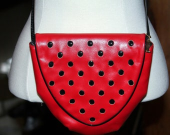 Vintage SHARIF Leather Red Black Dot Handbag Purse