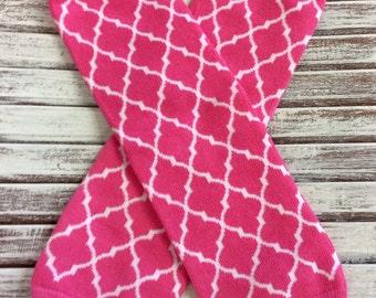 Pink Quatrefoil Leg Warmers