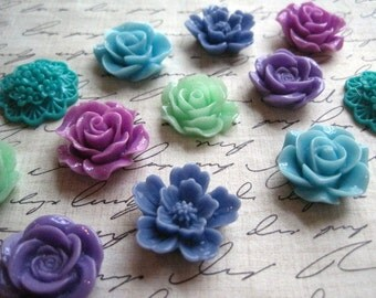 Pretty Magnets, 12 pc Flower Magnets, Blue, Green, Purple Kitchen Decor, Housewarming Gifts, Wedding Favors
