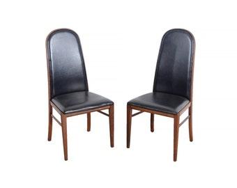 Milo Baughman Walnut Dining Chairs Set of 4 Dillingham Mid Century Modern