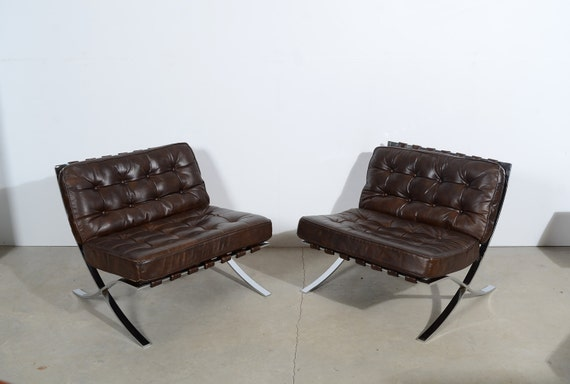 Barcelona chairs mies van der rohe brown leather chair