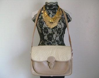 Rare Vintage GUCCI Italy Authentic Handbag Adjustable Strap Shoulder Cross Body Bag Combinations Color Beige Exotic Ostrich Skin Tan Leather