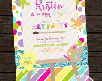 Girl Art Painting Birthday Invitation, Art Party, Art Birthday, Painting Party Invites- YOU PRINT