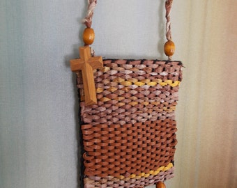 WOVEN BEADED PHONE Carrier  ......Wood Cross...Woven Leather...Felt Lining...Neck Phone Carrier....Wall Hanging..Free Shipping...Men'sGift
