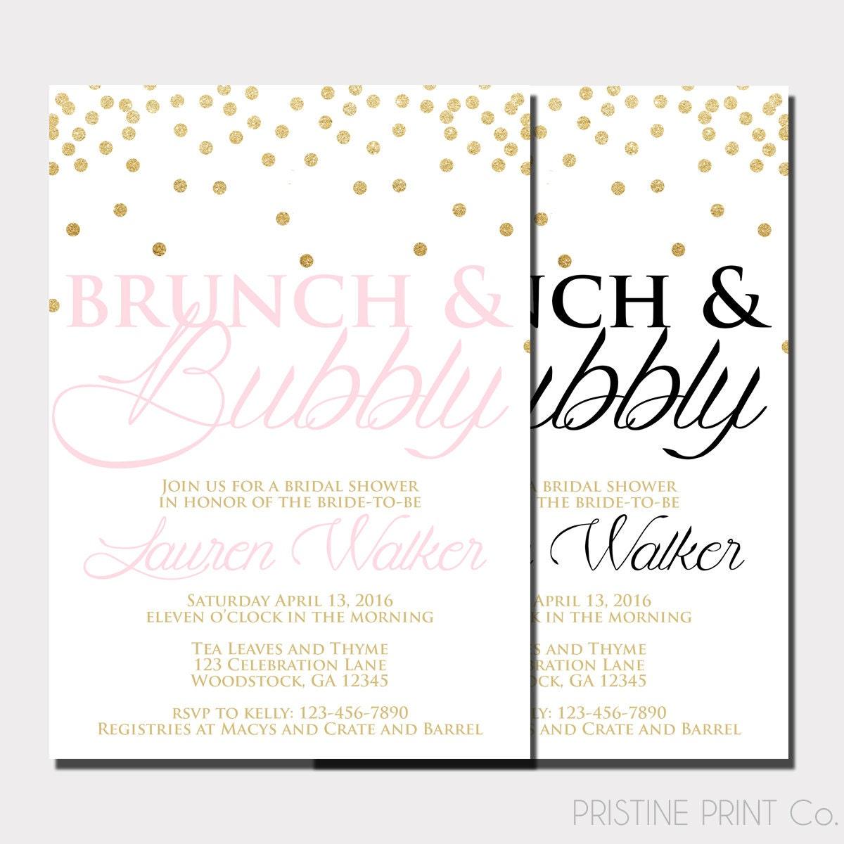 Brunch And Bubbly Bridal Shower Invitation By PristinePrintCo