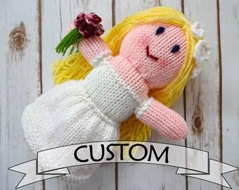 CUSTOM Bride Doll, Wedding Doll, Hand Knit Dolly, Soft Plush Toy, Flower Girl Gift