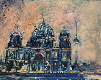 Cathedral in Berlin, Germany watercolor painting.  Watercolor painting on YUPO.  Watercolor Berlin.  Original watercolor.  Watercolor print