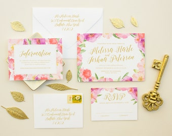 Invitation with Watercolor Flowers in Pink and Purple, Romantic Invitation Suite, Calligraphy Names Spring Wedding Invitation SAMPLE | Posy