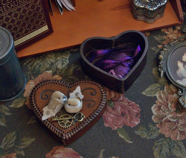 Wedding Ring Bearer Leather Heart Box Purple By
