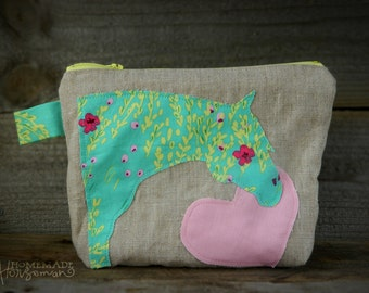 Horse Head Zippered Pouch/Cosmetic Bag