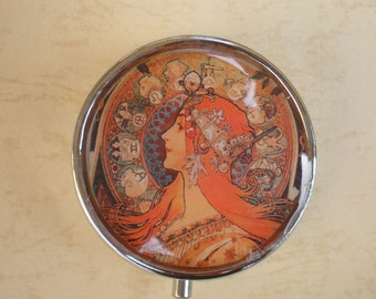 Mucha art pill box, Art Nouveau, Pill case, Pill container, Mint case, Candy container, Alphonse Mucha art