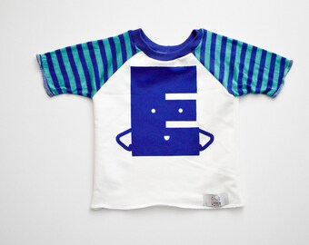 Blue Alphabet Raglan | CHOOSE Your Letter A-Z