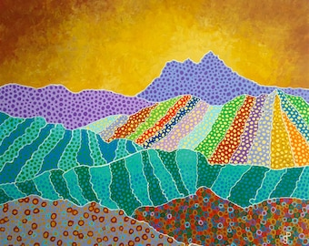 "The Mountains are Calling and I Must Go Original Art Multi Color Wall Art 16"" x 20"""