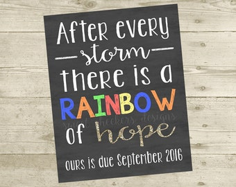 Rainbow Baby Personalized Pregnancy Announcement (8x10) - DIGITAL FILE