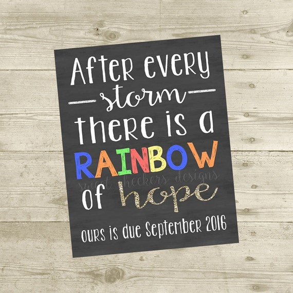 Printable Rainbow Of Hope Pregnancy Announcement Photo Prop Sign