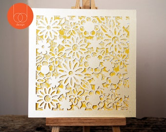 Bright Yellow floral papercut Greeting Card