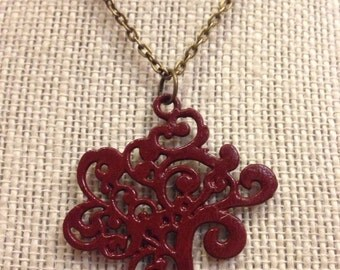 "20"" Crimson&Bronze Tree Of Life Necklace"