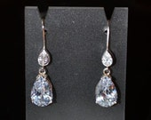 White Cubic Zirconia and Sterling Silver Pear Earrings