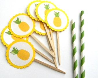 12 Pineapple Picks, Summer Birthday, Pineapples, Pool Party, Flamingo Birthday, Baby Shower, First Birthday, Picnic Party, Fruit Picks