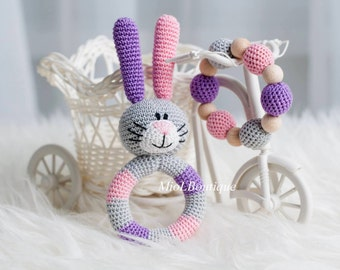 Baby rattle Crochet baby toy SET of 2 Teething baby toy Grasping Toys Bunny Stuffed toys Gift for baby Baby shower gift Christmas gift