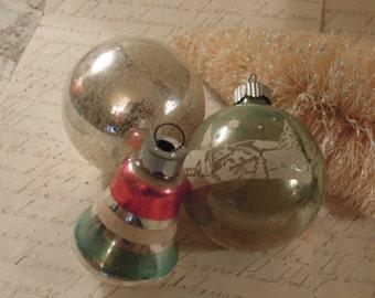 Three Vintage Silver Mercury Glass Ornaments / Shiny Brite Christmas Ornament / Christmas Bulbs / Bell Shaped Ornament