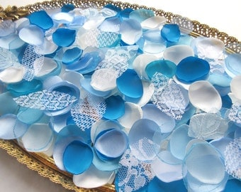 Blue Petals Flower Petals, White, Aqua, Tiffany blue, Teal, 150 Handmade Custom Flower Petals .