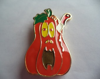 Vintage Unsigned Halloween Pumpkin and Knife Brooch/Pin