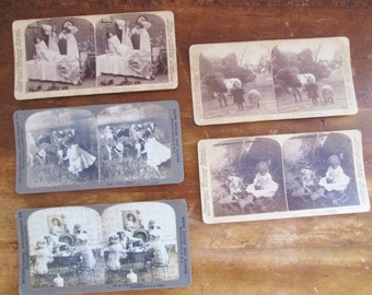Antique Edwardian 1893-1906 Sterographic Photo Cards 5 Cards Young Girls at Play Photography Altered Arts Mixed Media