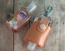 Small Hand Sanitizer Holder, Peach Vinyl with Snap, Great for Backpacks, Bags and Purses, Quick Ship, Choose from 25 Colors, Made in USA