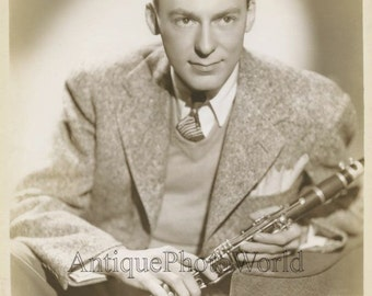 Young Woody Herman with clarinet jazz legend antique music photo