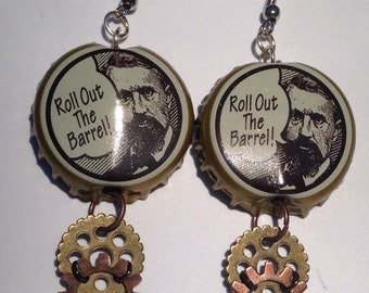Revived steampunk bottlecap earrings