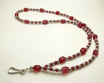 Red and Silver Colored Glass Beaded Lanyard (L004)