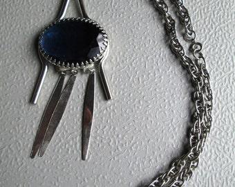 blue glass & silver tone long pendant dangles necklace w/ chain