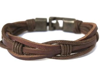 Mens Leather Bracelet for Men Rustic Brown Braided Leather Bracelet Mens Gift Ideas Husband Birthday Gift for Dad Male Bracelet Unique Gifts