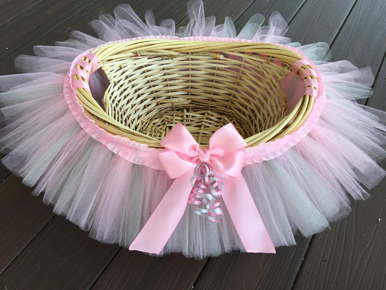 Pink And Grey Tutu Basket Pink And Gray Tutu Basket Birthday