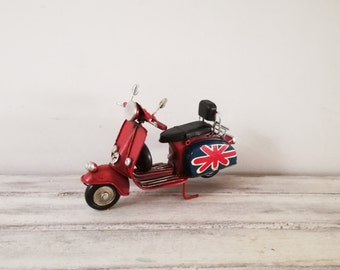 Red Vespa scooter miniature, with British flag, vintage, collectible, red Vepsa scooter, tin and rubber scooter miniature with Union Jack