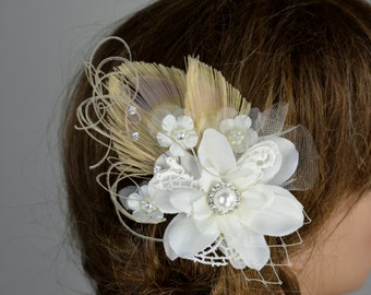 Bridal Hair Clip Wedding Accessory Crystals Feathers Bridal Fascinator Bridal Accessory