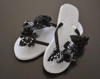 Black Bridal Flip Flops Wedding Flip Flops Black Flip Ribbon Pearl Bridsmaid  Flip Flops