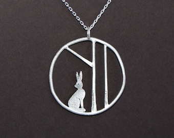 Edge of the woods hare necklace - sterling silver