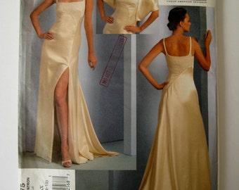 Vogue V1075 Sewing Pattern Evening Dress High Slit Stole Bridesmaid Train Chado Ralph Rucci American Designer Size 4 6 8 10 UNCUT