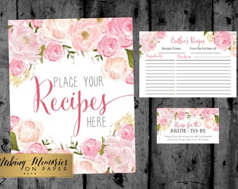 Pink Floral Watercolor Recipe Cards, Floral Recipe Cards, Shower Recipe Cards, Wedding, printable Recipe cards, Shower game