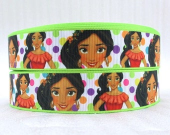 BTY 1 Inch Disney Princess Elena Cartoon Movie Grosgrain Ribbon Hair Bows Scrapbooking Lanyards Lisa