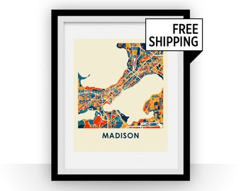 Madison Map Print - Full Color Map Poster