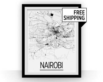 Nairobi Map Poster - kenya Map Print - Art Deco Series
