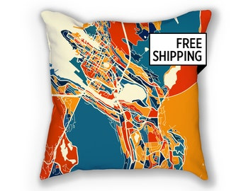 Bergen Map Pillow - Norway Map Pillow 18x18