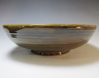Large, stoneware, serving bowl. Handmade, black and golden brown bowl